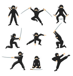Cute cartoon ninja kicking vector