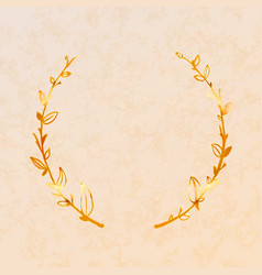 cute golden detailed floral wreath on beige paper vector image