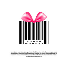 Cyber monday background with bar code and pink bow vector