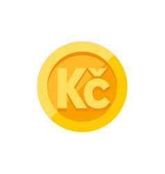 Czech koruna currency symbol on gold coin flat vector