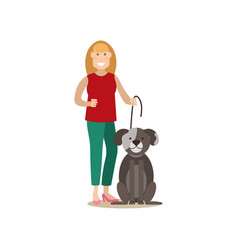 dog owner female with her pet flat vector image