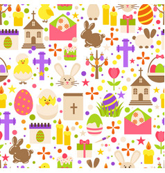 Easter retro seamless pattern with cute flowers vector