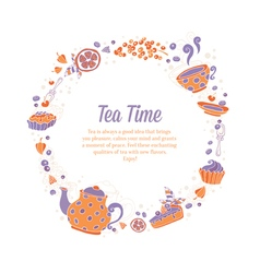 Elegant set of hand drawn tea and cakes vector image