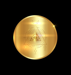 Engraving on gold medal sacred masonic symbol vector
