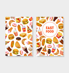 fast food card templates with tasty unhealthy vector image