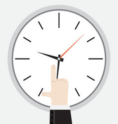 Finger showing on the clock vector image