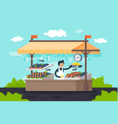 Flat street fish stall with seafood lemon green vector