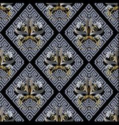 Floral greek 3d seamless pattern meander vector