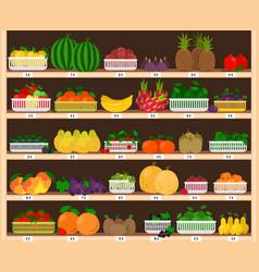 fruits supermarket shelves food farm store vector image