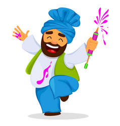 Funny dancing man with liquid paint vector