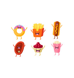 funny fast food characters set donut french vector image