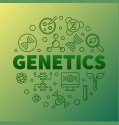 Genetics round concept biology linear vector