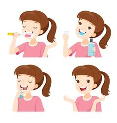 Girl cleaning teeth set vector