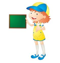 Girl showing board vector