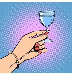 glass wine woman toast vector image