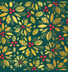 gold and green holly berry holiday seamless vector image