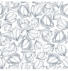 graphic magnolia flowers and buds hand drawn vector image