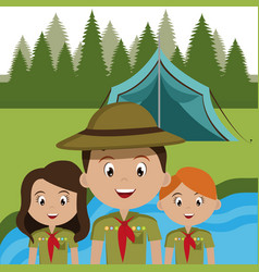 Group of scouts in the camping zone vector