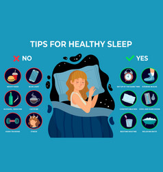 Healthy sleep rules healthy night sleep tips vector