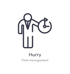 Hurry outline icon isolated line from time vector