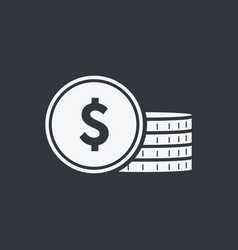 icon coin money sign bank cash solid vector image