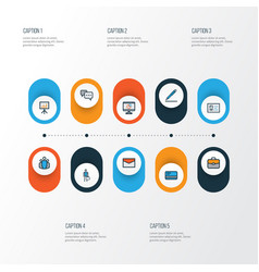 Job colorful outline icons set collection of team vector