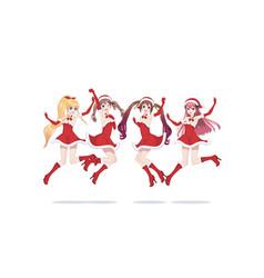 joyful anime manga girls as santa claus in a jump vector image