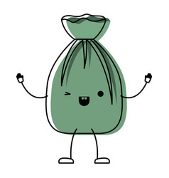 Kawaii cartoon garbage bag tied in colorful vector