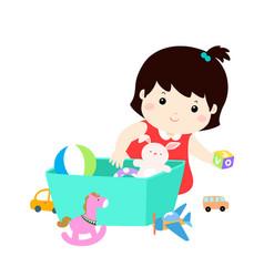 Kid girl storing toys vector