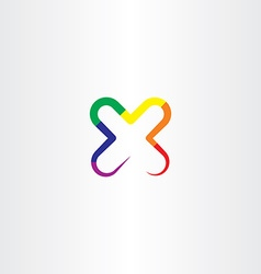 Letter x colorful icon vector