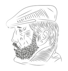 man with a beard in profile vector image