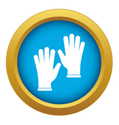Medical gloves icon blue isolated vector