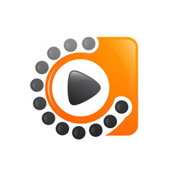 motion dot media player video logo design template vector image