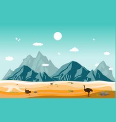 Mountains hills desert steppe ostrich landscape vector
