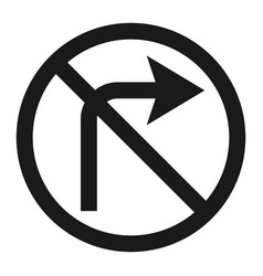 No right prohibition turn sign line icon vector
