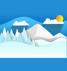 paper snow mountains christmas vector image