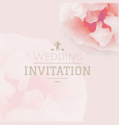 Pink pastel wedding invitation vector