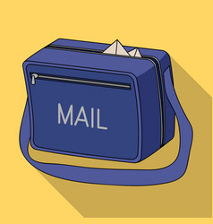 Postal bagmail and postman single icon in flat vector