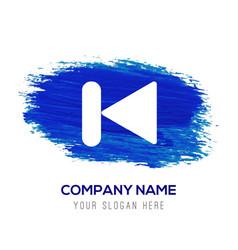 Previous media player icon - blue watercolor vector