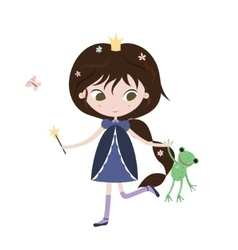 Princess and frog Cute little princess with frog vector