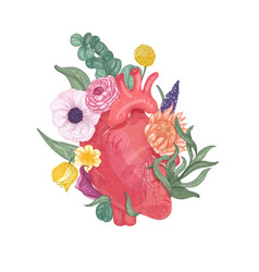 Realistic anatomical heart overgrown by blooming vector