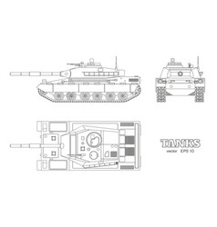 Realistic tank blueprint outline armored car vector