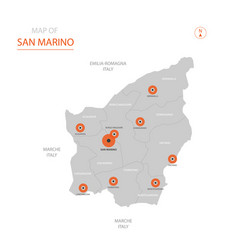 san marino map with administrative divisions vector image
