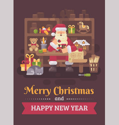 santa claus sitting at the desk in his workshop vector image