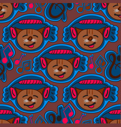 seamless pattern with musical cat vector image