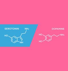 serotonin and dopamine hormone symbols human body vector image