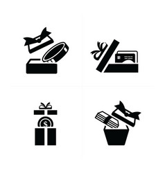 set black gift icons open credit in gift box vector image vector image