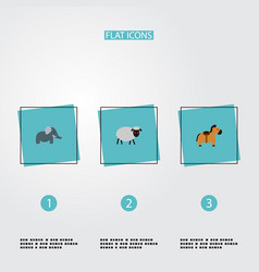 set of animal icons flat style symbols with sheep vector image