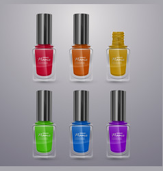 set of realistic nail polishes of bright colors vector image