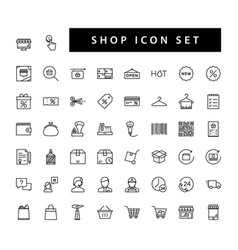 shop supermarket icon set with black color vector image